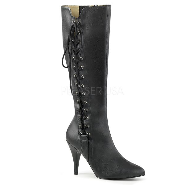DREAM-2026 High-Heel Kniestiefel mit seitlicher Schnürung in schwarz Kunstleder